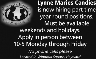 Part Time Year Round Positions