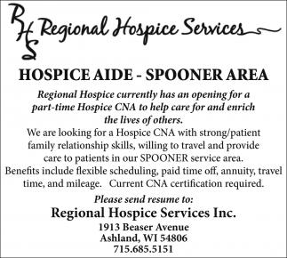 Hospice Aide - Spooner Area