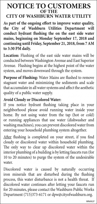 Notice to Customers, Water Utility