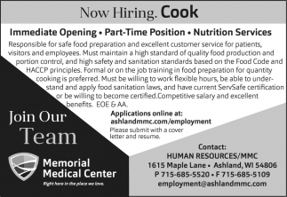 Now Hiring. Cook