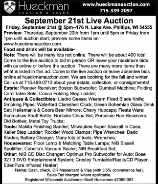 September 21st Live Auction