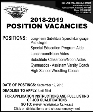 Position Vacancies
