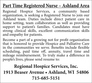 Part Time Registered Nurse - Ashland Area