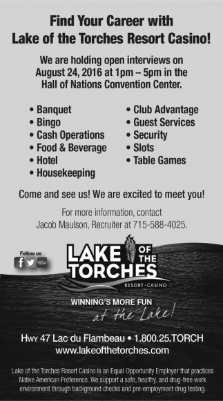 Find Your Career with Lake of the Torches Resort Casino!