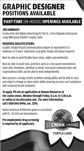 Graphic Designer Positions Available