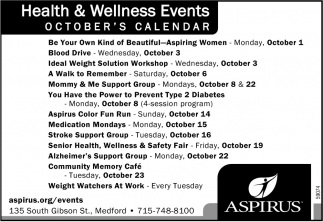 Health & Wellness Events October's Calendar