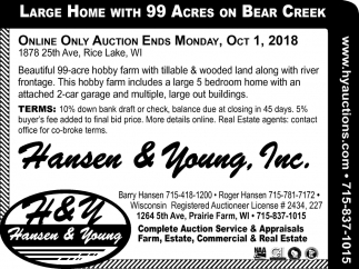 Large Home With 99 Acres On Bear Creek Hansen Young Inc Prairie