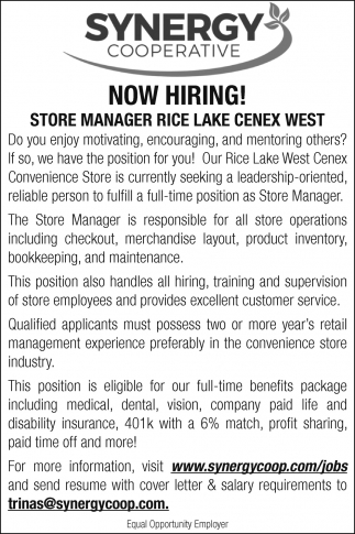 Store Manager Rice Lake Cenex West