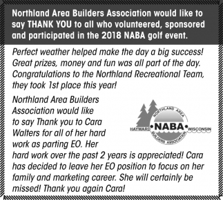 Thank you to all who participated In The 2018 NABA Golf Event
