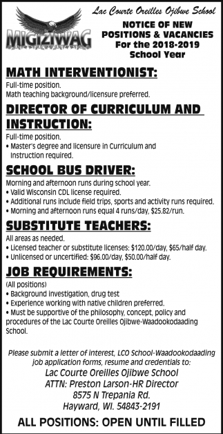 Notice of New Positions and Vacancies