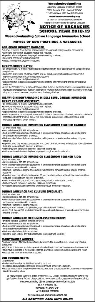 Notice Of Vacancies School Year 2018-19