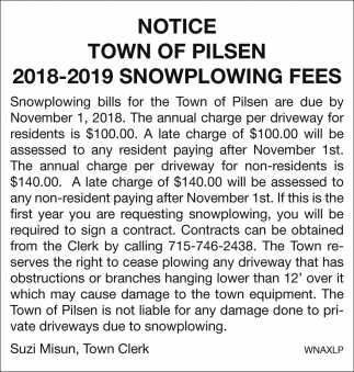 Notice 2018-2019 Snowplowing Fees