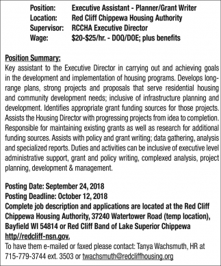 Executive Assistant - Planner