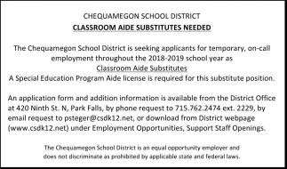 Classroom Aide Substitutes Needed