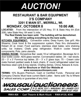 Restaurant & Bar Equipment 3's Company