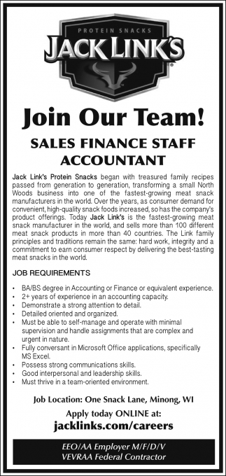 Sales Finance Staff, Accountant