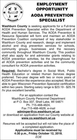AODA Prevention Specialist