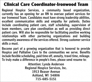 Clinical Care Coordinator-Ironwood Team