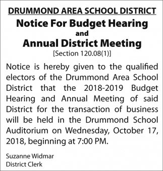 Notice for Budget Hearing and Annual District Meeting