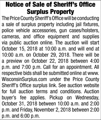 Notice of Sale of Sheriff's Office