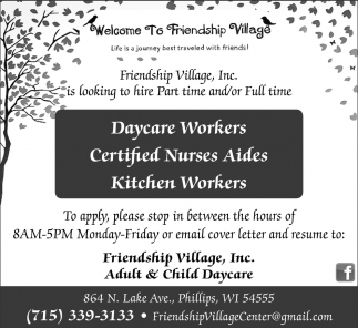 Daycare Workers Cna Kitchen Workers Friendship Village Inc