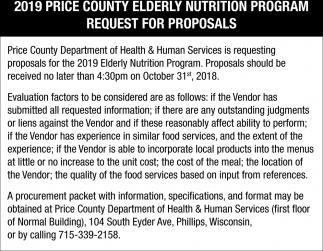 2019 Price County Elderly Nutrition Program