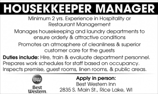 Housekeeper Manager