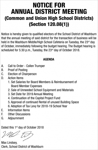 Notice for Annual District Meeting