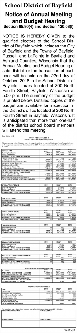 Notice of Annual Meeting and Budget Hearing