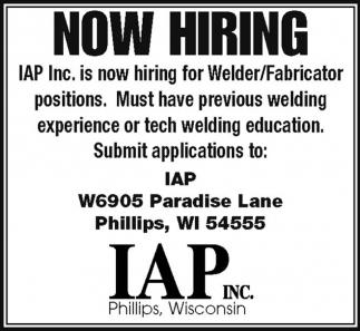 Now Hiring - Welder/Fabricator