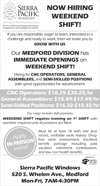 Now Hiring Weekend Shifts