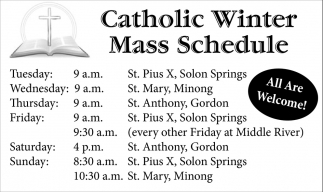 Catholic Winter Mass Schedule