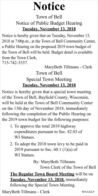 Notice: Public Budget Hearing/Special Town Meeting/Regular Town Board Meeting