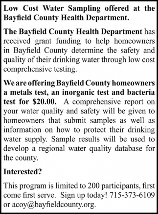 Bayfield County Health Department