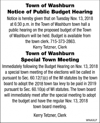 Notice of Public Budget Hearing/Special Town Meeting