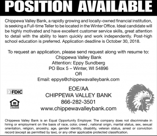Position Available - Teller