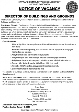 Notice of Vacancy Director of Buildings and Grounds