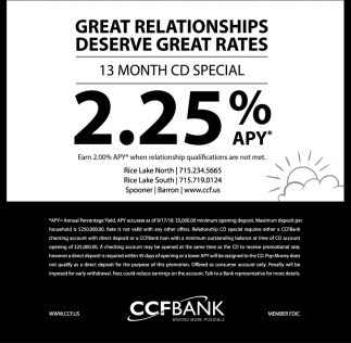 13 Month CD Special 2.25%?