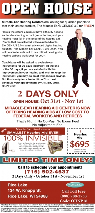 Open House Oct 31st Nov 1st Miracle Ear Siren Wi
