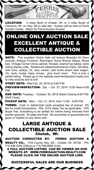 Online Only Auction Sale, Ferris Auction & Realty Co, Chetek, WI