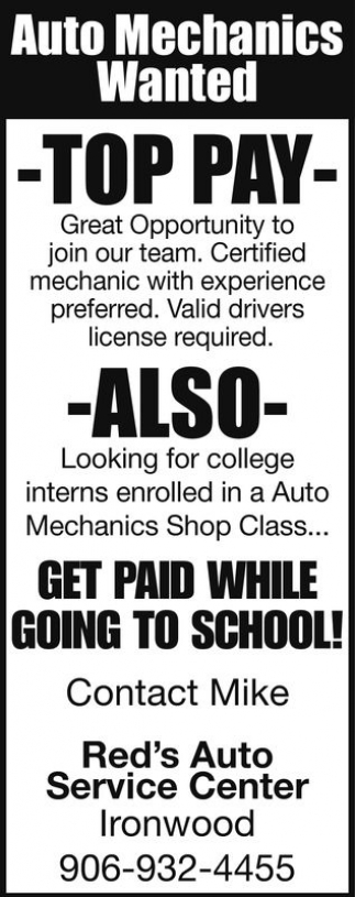 Auto Mechanics Wanted