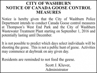 NOTICE OF CANADA GOOSE CONTROL MEASURES