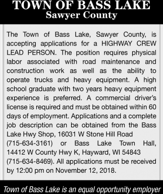 Highway Crew Lead Person
