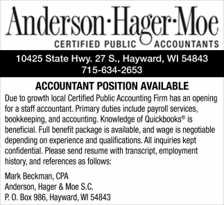 Accountant Position Available
