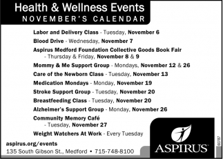 Health & Wellness Events November Calendar