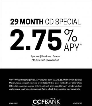 29 Month CD Special 2.75%?