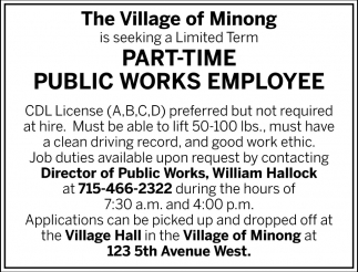 Part-Time Public Works Employee
