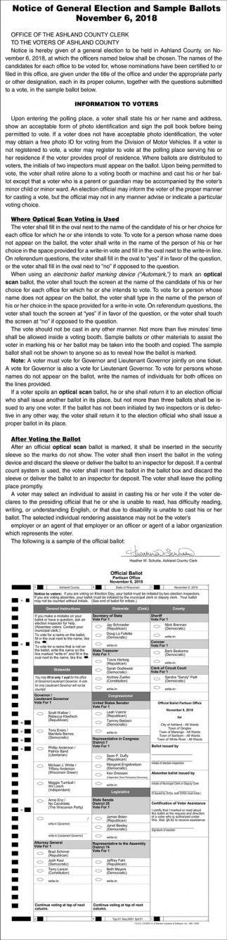 Notice of General Election and Sample Ballots