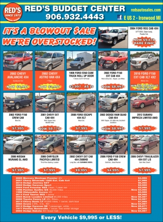 red s budget center red s auto sale ironwood mi
