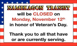 Namekagon Transit Will Be Closed on November 12th